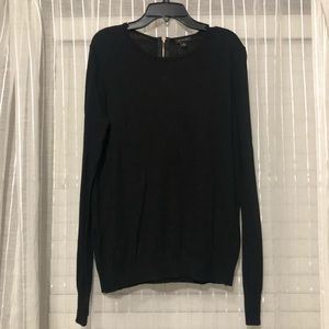 Ann Taylor Black Sweater with Gold Zipper